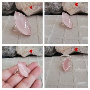 Rose Quartz Marquise 925 Silver Ring Hippie & Boho